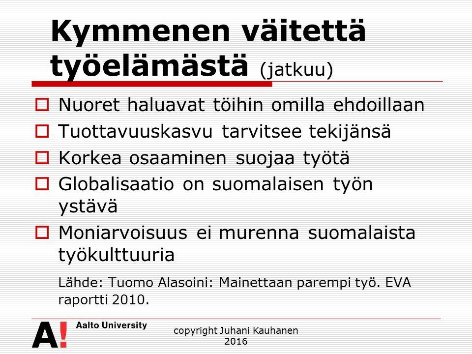 Kymmenen väitettä työelämästä (jatkuu)  Nuoret haluavat töihin omilla ehdoillaan  Tuottavuuskasvu tarvitsee tekijänsä  Korkea osaaminen suojaa työtä  Globalisaatio on suomalaisen työn ystävä  Moniarvoisuus ei murenna suomalaista työkulttuuria Lähde: Tuomo Alasoini: Mainettaan parempi työ.
