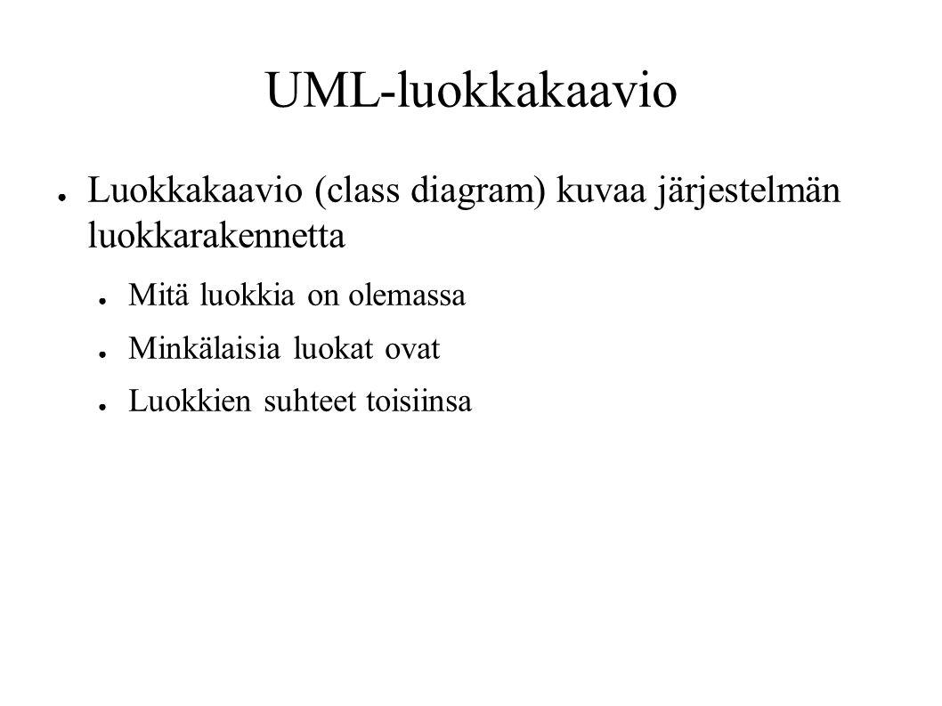 UML-luokkakaavio ● Luokkakaavio (class diagram) kuvaa järjestelmän luokkarakennetta ● Mitä luokkia on olemassa ● Minkälaisia luokat ovat ● Luokkien suhteet toisiinsa