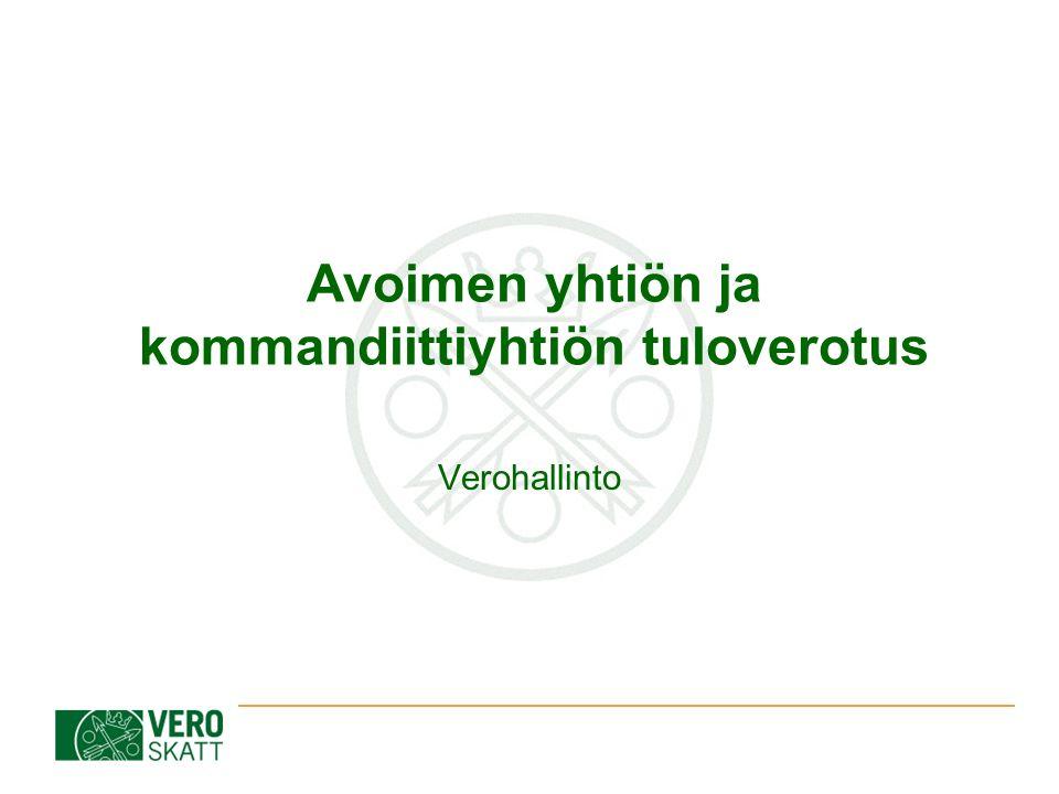 Avoimen yhtiön ja kommandiittiyhtiön tuloverotus Verohallinto