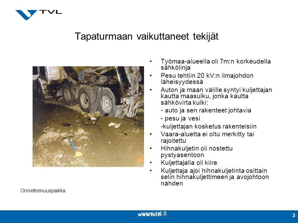 www.tvl.fi 3 Tapaturmaan vaikuttaneet tekijät Työmaa-alueella oli 7m:n korkeudella sähkölinja Pesu tehtiin 20 kV:n ilmajohdon läheisyydessä Auton ja maan välille syntyi kuljettajan kautta maasulku, jonka kautta sähkövirta kulki: - auto ja sen rakenteet johtavia - pesu ja vesi -kuljettajan kosketus rakenteisiin Vaara-aluetta ei oltu merkitty tai rajoitettu Hihnakuljetin oli nostettu pystyasentoon Kuljettajalla oli kiire Kuljettaja ajoi hihnakuljetinta osittain selin hihnakuljettimeen ja avojohtoon nähden Onnettomuuspaikka
