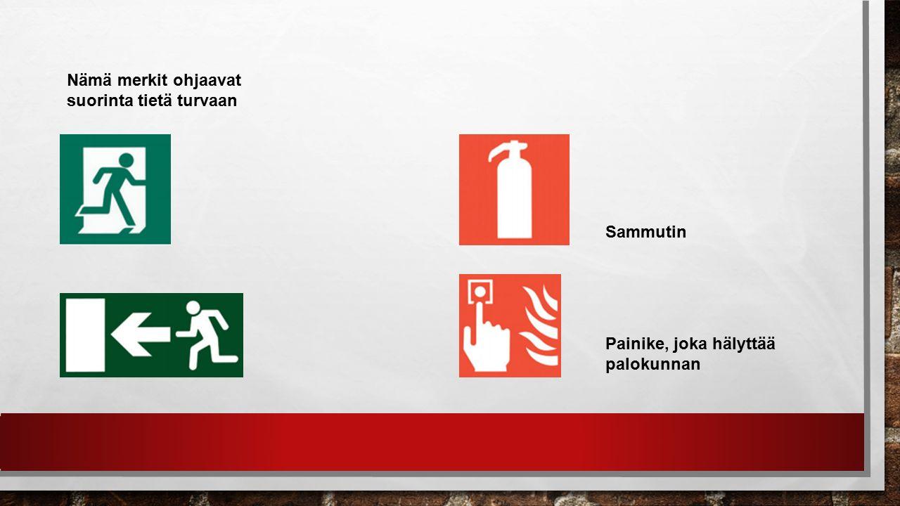 Nämä merkit ohjaavat suorinta tietä turvaan Sammutin Painike, joka hälyttää palokunnan