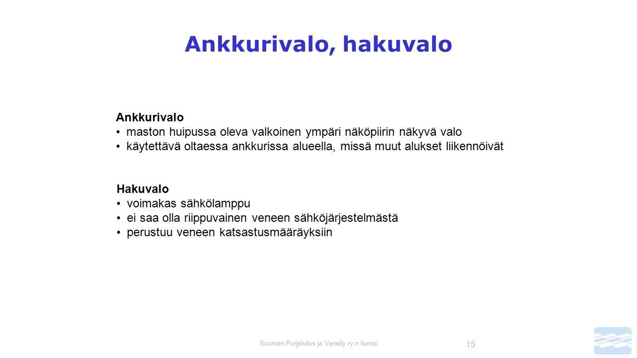 Suomen Purjehdus ja Veneily ry:n kurssi 15 Ankkurivalo, hakuvalo Ankkurivalo maston huipussa oleva valkoinen ympäri näköpiirin näkyvä valo käytettävä oltaessa ankkurissa alueella, missä muut alukset liikennöivät Hakuvalo voimakas sähkölamppu ei saa olla riippuvainen veneen sähköjärjestelmästä perustuu veneen katsastusmääräyksiin