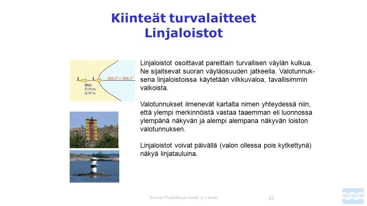 Suomen Purjehdus ja Veneily ry:n kurssi 23 Kiinteät turvalaitteet Linjaloistot Linjaloistot osoittavat pareittain turvallisen väylän kulkua.