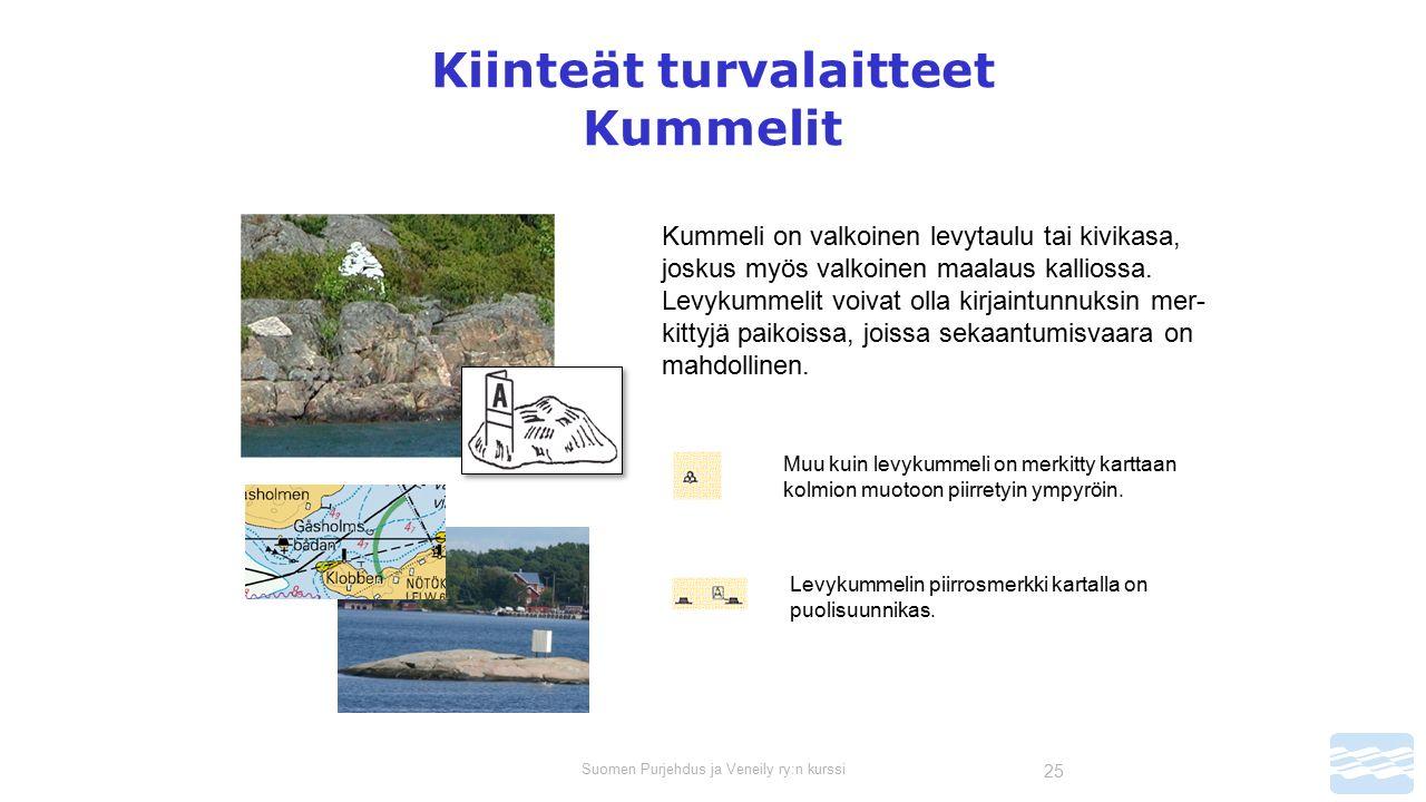 Suomen Purjehdus ja Veneily ry:n kurssi 25 Kiinteät turvalaitteet Kummelit Kummeli on valkoinen levytaulu tai kivikasa, joskus myös valkoinen maalaus kalliossa.