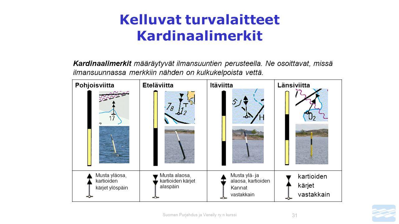 Suomen Purjehdus ja Veneily ry:n kurssi 31 Kelluvat turvalaitteet Kardinaalimerkit Kardinaalimerkit määräytyvät ilmansuuntien perusteella.