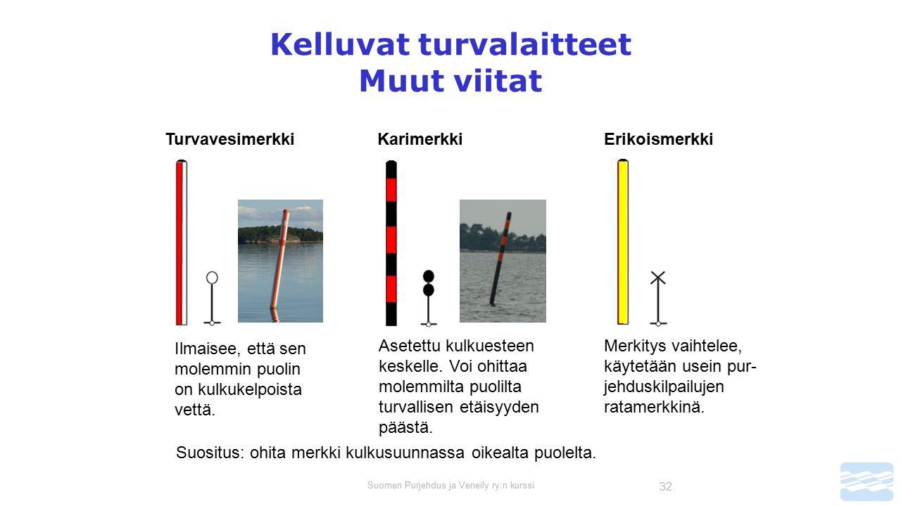 Suomen Purjehdus ja Veneily ry:n kurssi 32 Kelluvat turvalaitteet Muut viitat Turvavesimerkki Ilmaisee, että sen molemmin puolin on kulkukelpoista vettä.