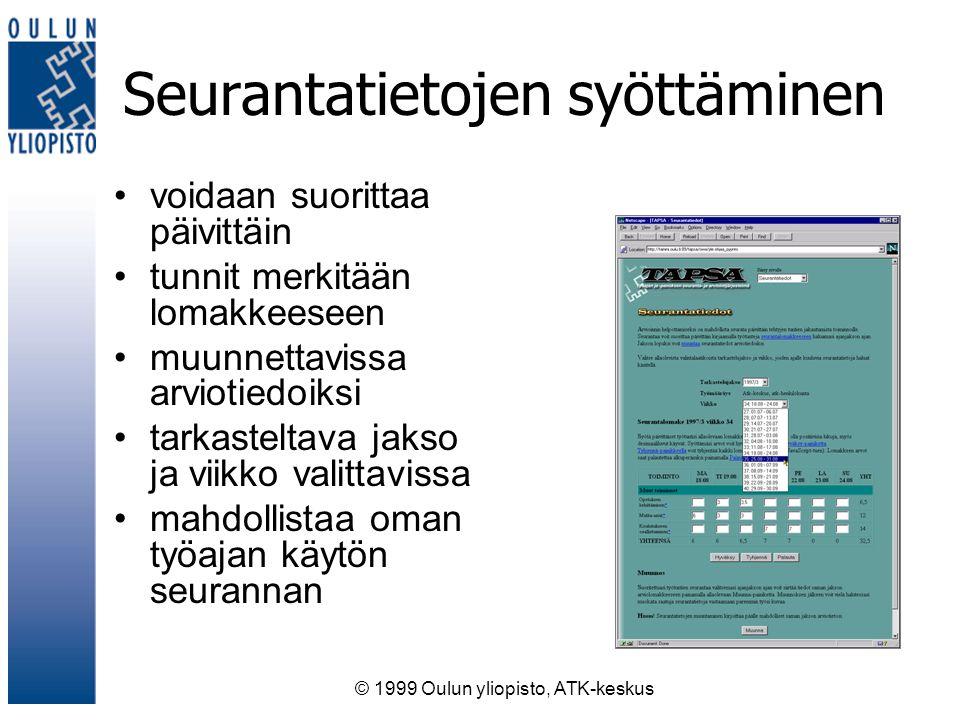 © 1999 Oulun yliopisto, ATK-keskus Seurantatietojen syöttäminen voidaan suorittaa päivittäin tunnit merkitään lomakkeeseen muunnettavissa arviotiedoiksi tarkasteltava jakso ja viikko valittavissa mahdollistaa oman työajan käytön seurannan