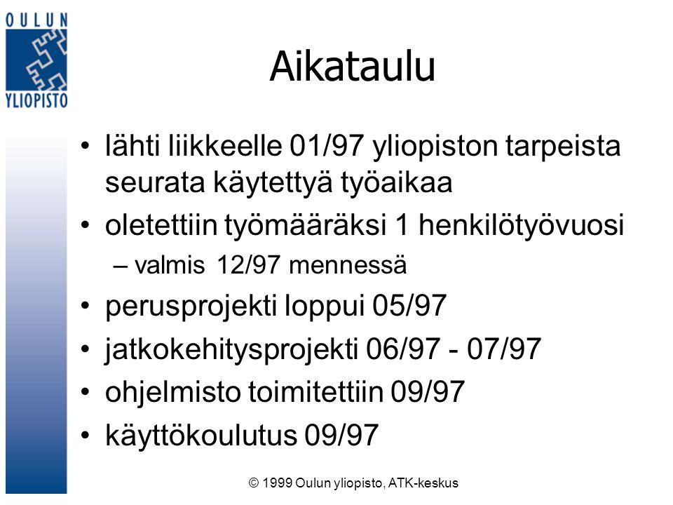 © 1999 Oulun yliopisto, ATK-keskus Aikataulu lähti liikkeelle 01/97 yliopiston tarpeista seurata käytettyä työaikaa oletettiin työmääräksi 1 henkilötyövuosi –valmis 12/97 mennessä perusprojekti loppui 05/97 jatkokehitysprojekti 06/97 - 07/97 ohjelmisto toimitettiin 09/97 käyttökoulutus 09/97