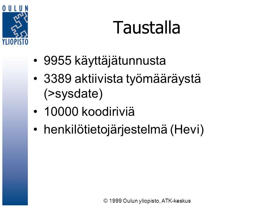 © 1999 Oulun yliopisto, ATK-keskus Taustalla 9955 käyttäjätunnusta 3389 aktiivista työmääräystä (>sysdate) 10000 koodiriviä henkilötietojärjestelmä (Hevi)