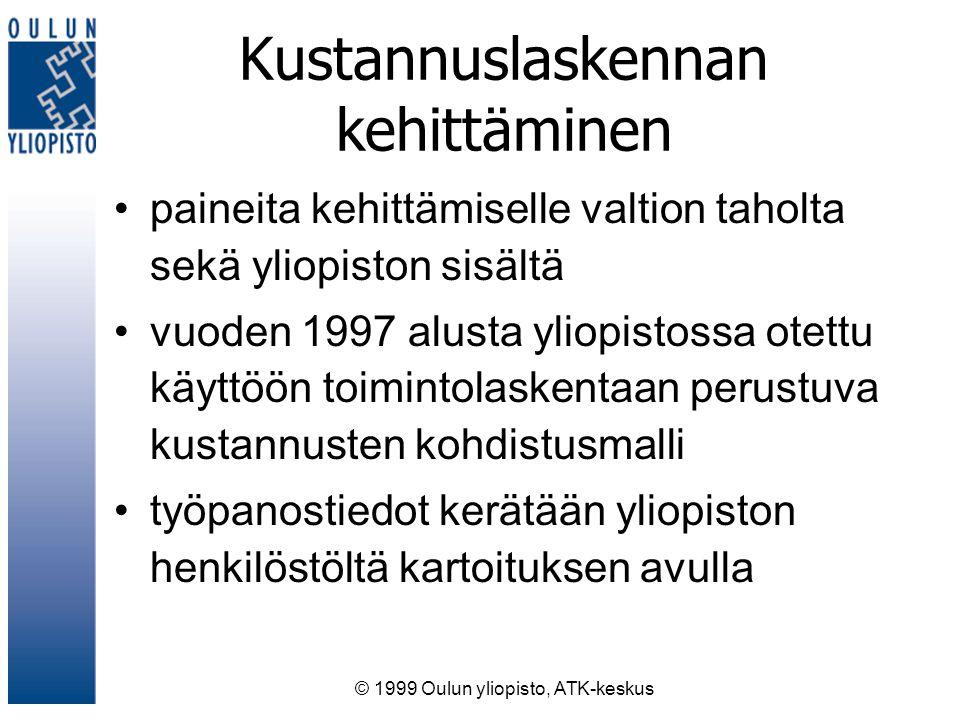 © 1999 Oulun yliopisto, ATK-keskus Kustannuslaskennan kehittäminen paineita kehittämiselle valtion taholta sekä yliopiston sisältä vuoden 1997 alusta yliopistossa otettu käyttöön toimintolaskentaan perustuva kustannusten kohdistusmalli työpanostiedot kerätään yliopiston henkilöstöltä kartoituksen avulla
