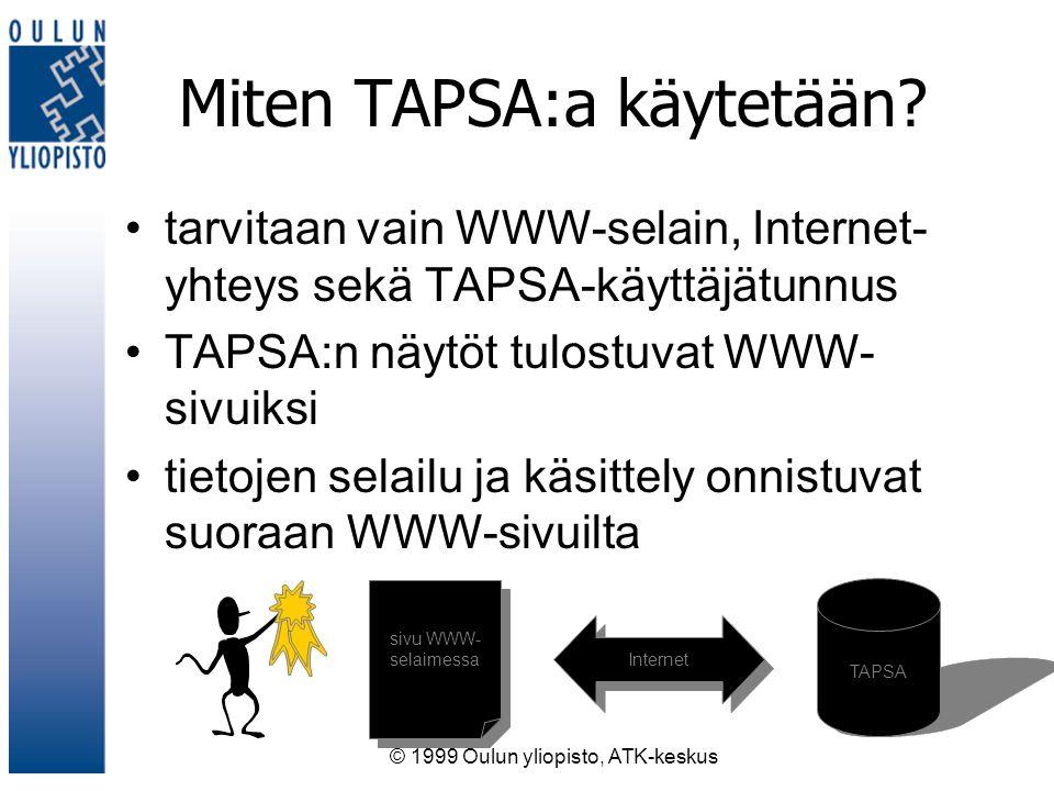 © 1999 Oulun yliopisto, ATK-keskus Miten TAPSA:a käytetään.