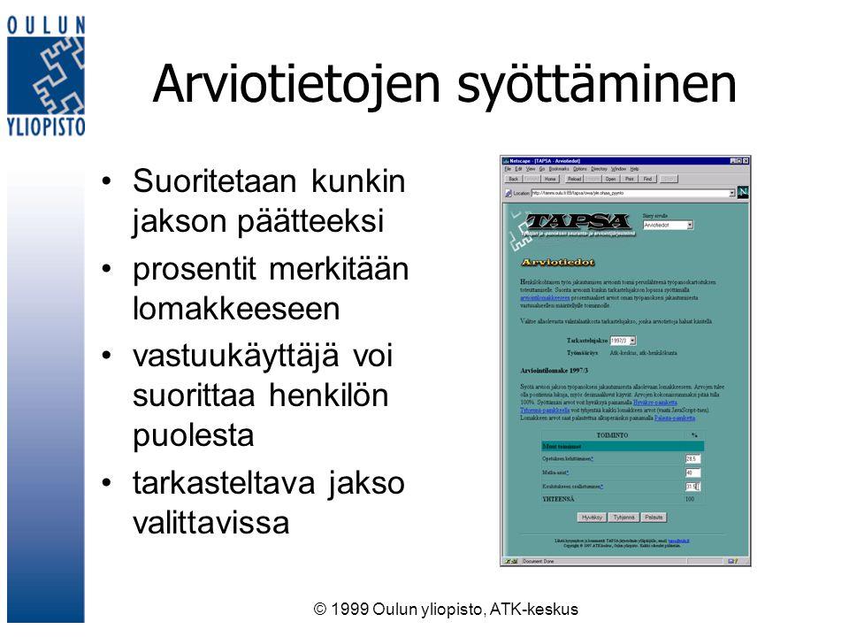 © 1999 Oulun yliopisto, ATK-keskus Arviotietojen syöttäminen Suoritetaan kunkin jakson päätteeksi prosentit merkitään lomakkeeseen vastuukäyttäjä voi suorittaa henkilön puolesta tarkasteltava jakso valittavissa