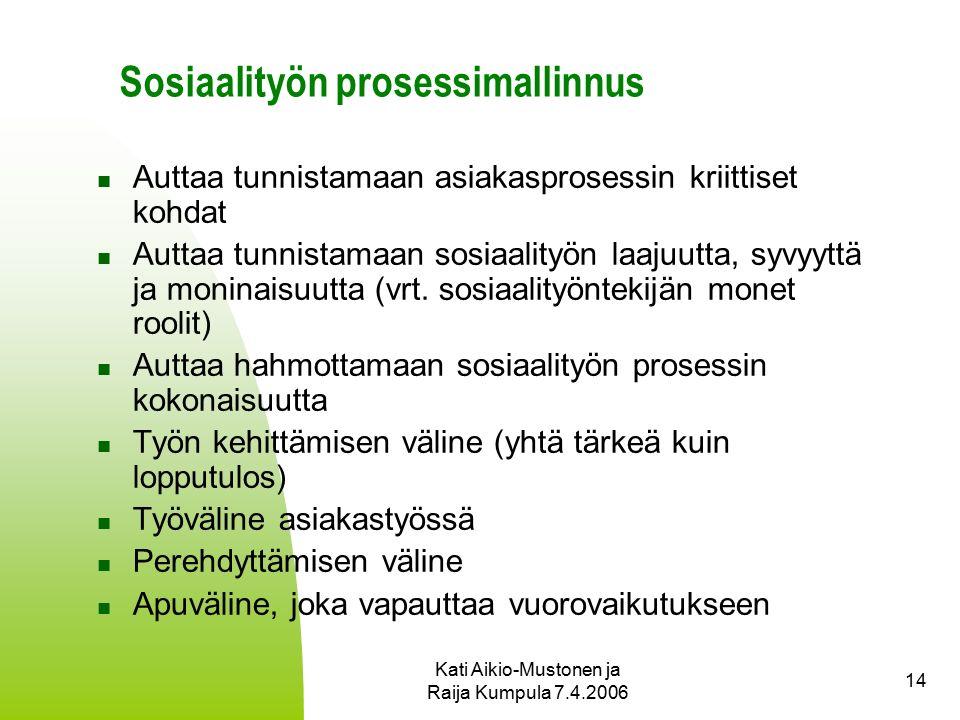 Kati Aikio-Mustonen ja Raija Kumpula 7.4.2006 14 Sosiaalityön prosessimallinnus Auttaa tunnistamaan asiakasprosessin kriittiset kohdat Auttaa tunnistamaan sosiaalityön laajuutta, syvyyttä ja moninaisuutta (vrt.