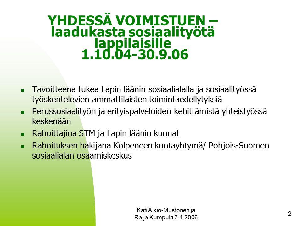 Kati Aikio-Mustonen ja Raija Kumpula 7.4.2006 2 YHDESSÄ VOIMISTUEN – laadukasta sosiaalityötä lappilaisille 1.10.04-30.9.06 Tavoitteena tukea Lapin läänin sosiaalialalla ja sosiaalityössä työskentelevien ammattilaisten toimintaedellytyksiä Perussosiaalityön ja erityispalveluiden kehittämistä yhteistyössä keskenään Rahoittajina STM ja Lapin läänin kunnat Rahoituksen hakijana Kolpeneen kuntayhtymä/ Pohjois-Suomen sosiaalialan osaamiskeskus