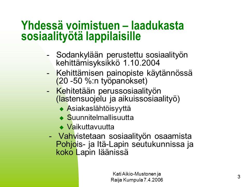 Kati Aikio-Mustonen ja Raija Kumpula 7.4.2006 3 Yhdessä voimistuen – laadukasta sosiaalityötä lappilaisille - Sodankylään perustettu sosiaalityön kehittämisyksikkö 1.10.2004 - Kehittämisen painopiste käytännössä (20 -50 %:n työpanokset) - Kehitetään perussosiaalityön (lastensuojelu ja aikuissosiaalityö)  Asiakaslähtöisyyttä  Suunnitelmallisuutta  Vaikuttavuutta - Vahvistetaan sosiaalityön osaamista Pohjois- ja Itä-Lapin seutukunnissa ja koko Lapin läänissä