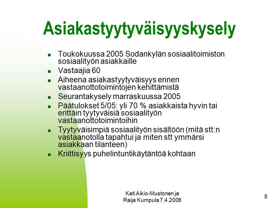 Kati Aikio-Mustonen ja Raija Kumpula 7.4.2006 5 Asiakastyytyväisyyskysely Toukokuussa 2005 Sodankylän sosiaalitoimiston sosiaalityön asiakkaille Vastaajia 60 Aiheena asiakastyytyväisyys ennen vastaanottotoimintojen kehittämistä Seurantakysely marraskuussa 2005 Päätulokset 5/05: yli 70 % asiakkaista hyvin tai erittäin tyytyväisiä sosiaalityön vastaanottotoimintoihin Tyytyväisimpiä sosiaalityön sisältöön (mitä stt:n vastaanotolla tapahtui ja miten stt ymmärsi asiakkaan tilanteen) Kriittisyys puhelintuntikäytäntöä kohtaan