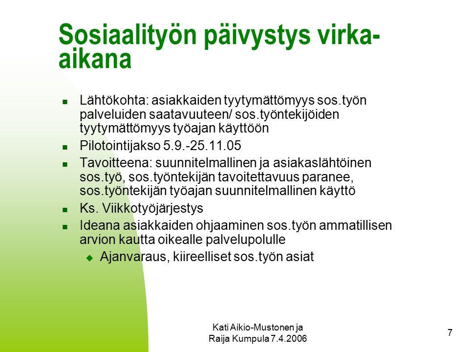 Kati Aikio-Mustonen ja Raija Kumpula 7.4.2006 7 Sosiaalityön päivystys virka- aikana Lähtökohta: asiakkaiden tyytymättömyys sos.työn palveluiden saatavuuteen/ sos.työntekijöiden tyytymättömyys työajan käyttöön Pilotointijakso 5.9.-25.11.05 Tavoitteena: suunnitelmallinen ja asiakaslähtöinen sos.työ, sos.työntekijän tavoitettavuus paranee, sos.työntekijän työajan suunnitelmallinen käyttö Ks.