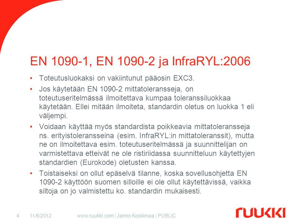 11/6/2012www.ruukki.com | Jarmo Koskimaa | PUBLIC4 EN 1090-1, EN 1090-2 ja InfraRYL:2006 Toteutusluokaksi on vakiintunut pääosin EXC3.