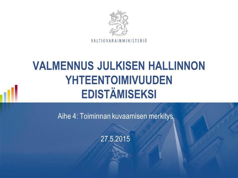 VALMENNUS JULKISEN HALLINNON YHTEENTOIMIVUUDEN EDISTÄMISEKSI Aihe 4: Toiminnan kuvaamisen merkitys 27.5.2015