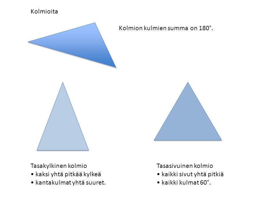 Kolmioita Tasakylkinen kolmio kaksi yhtä pitkää kylkeä kantakulmat yhtä suuret.