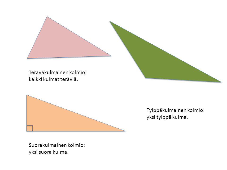 Teräväkulmainen kolmio: kaikki kulmat teräviä. Suorakulmainen kolmio: yksi suora kulma.