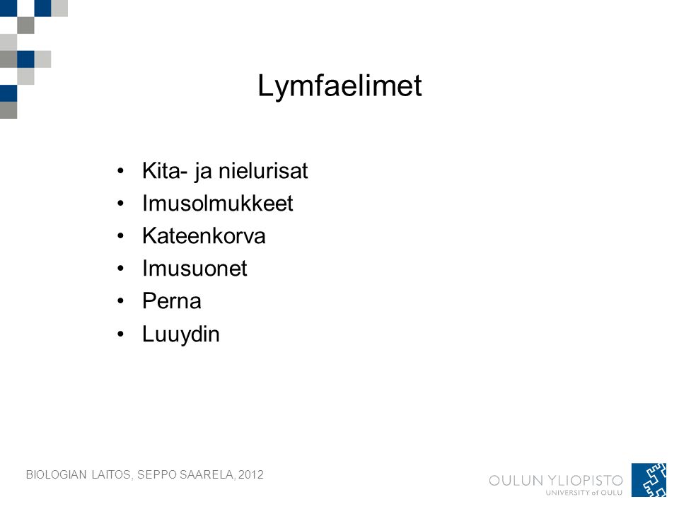 Lymfaelimet Kita- ja nielurisat Imusolmukkeet Kateenkorva Imusuonet Perna Luuydin