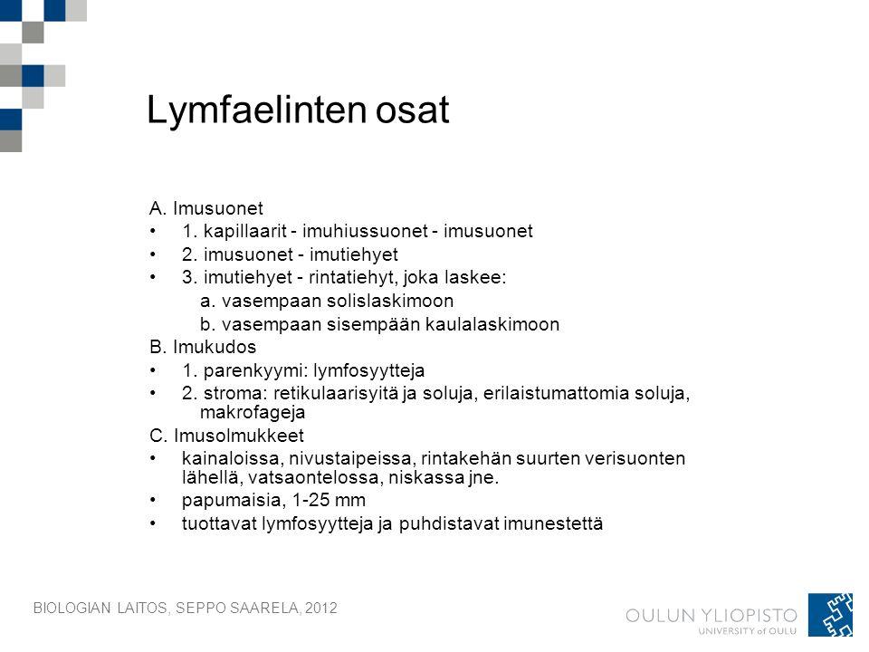 BIOLOGIAN LAITOS, SEPPO SAARELA, 2012 Lymfaelinten osat A.