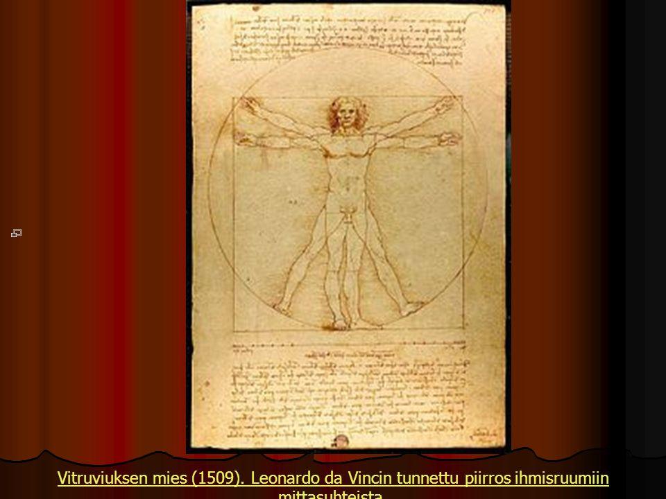 Vitruviuksen mies (1509). Leonardo da Vincin tunnettu piirros ihmisruumiin mittasuhteista.