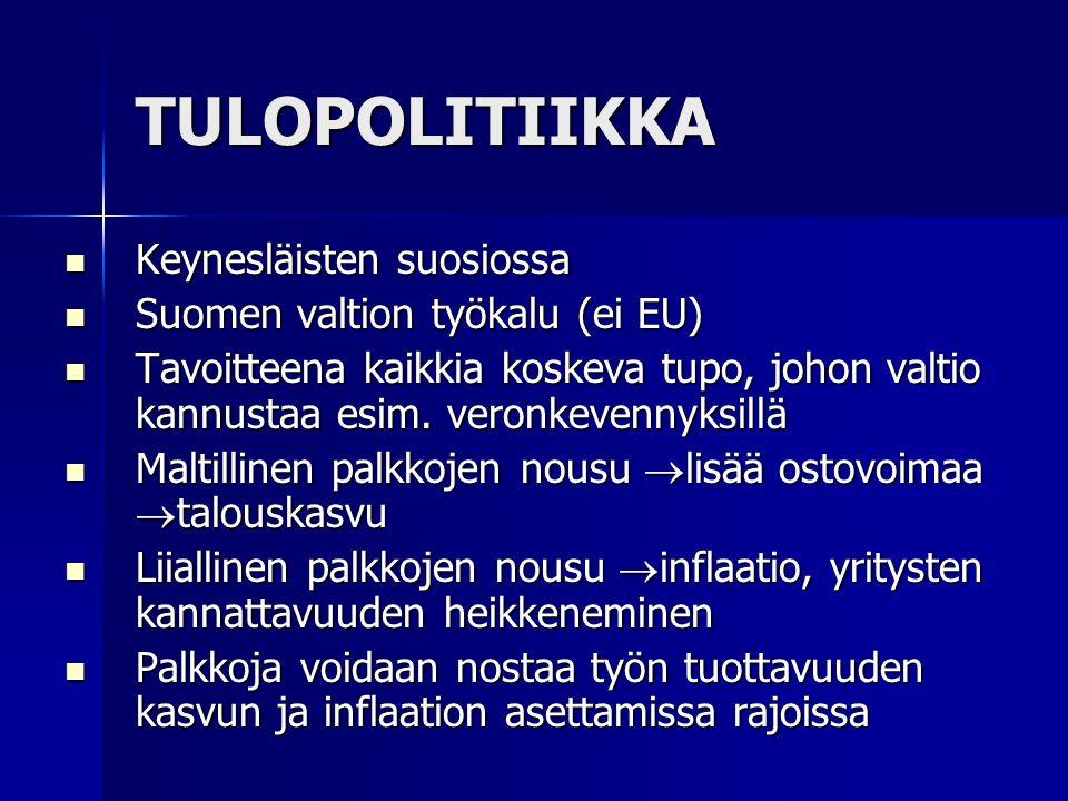 TULOPOLITIIKKA Keynesläisten suosiossa Keynesläisten suosiossa Suomen valtion työkalu (ei EU) Suomen valtion työkalu (ei EU) Tavoitteena kaikkia koskeva tupo, johon valtio kannustaa esim.