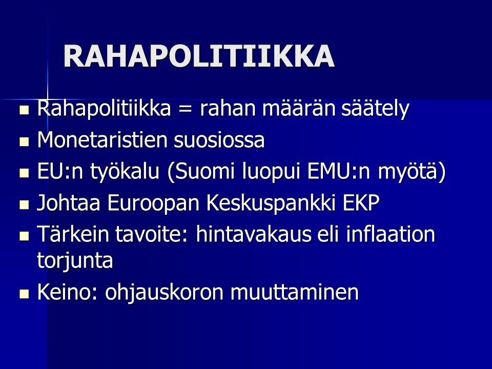 RAHAPOLITIIKKA Rahapolitiikka = rahan määrän säätely Rahapolitiikka = rahan määrän säätely Monetaristien suosiossa Monetaristien suosiossa EU:n työkalu (Suomi luopui EMU:n myötä) EU:n työkalu (Suomi luopui EMU:n myötä) Johtaa Euroopan Keskuspankki EKP Johtaa Euroopan Keskuspankki EKP Tärkein tavoite: hintavakaus eli inflaation torjunta Tärkein tavoite: hintavakaus eli inflaation torjunta Keino: ohjauskoron muuttaminen Keino: ohjauskoron muuttaminen