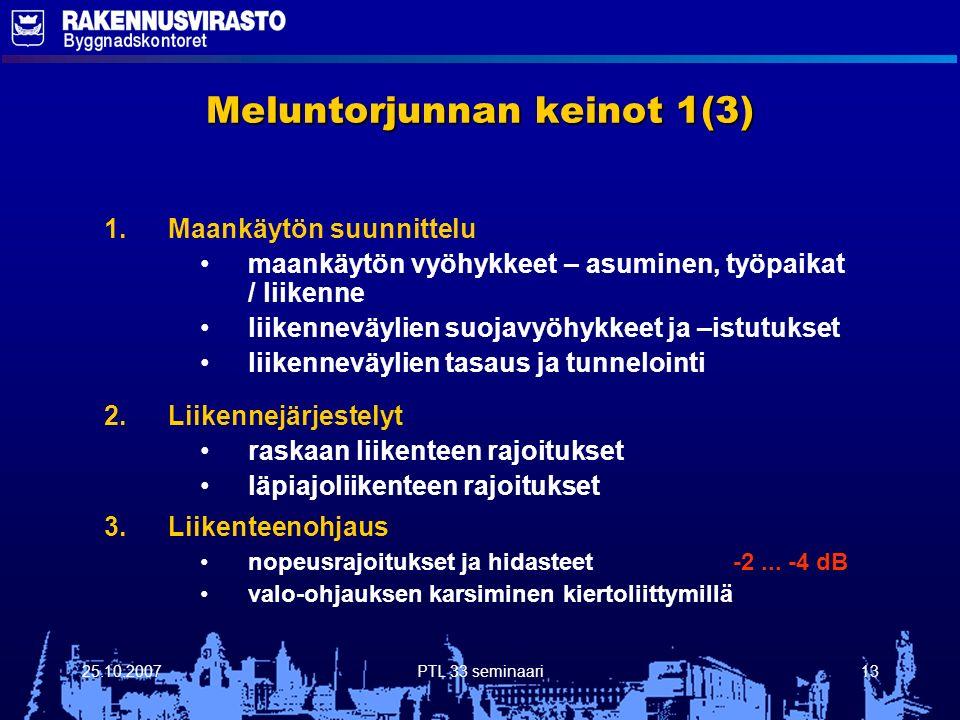 25.10.2007PTL 33 seminaari13 Meluntorjunnan keinot 1(3) 1.