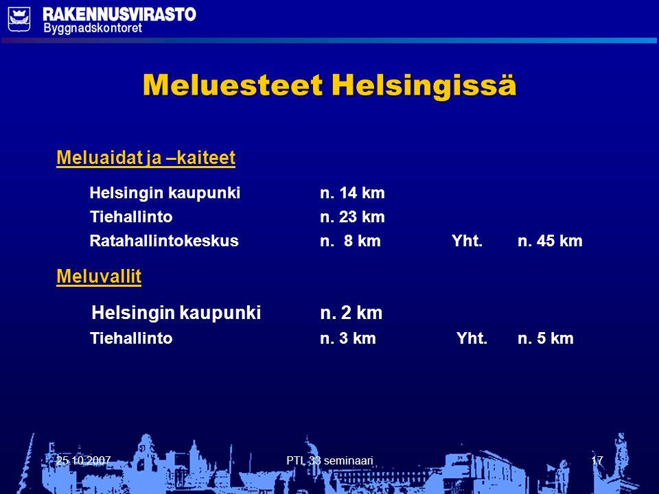 25.10.2007PTL 33 seminaari17 Meluesteet Helsingissä Meluaidat ja –kaiteet Helsingin kaupunkin.