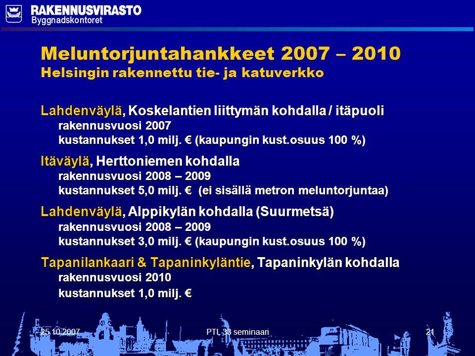 25.10.2007PTL 33 seminaari21 Meluntorjuntahankkeet 2007 – 2010 Helsingin rakennettu tie- ja katuverkko Lahdenväylä, Koskelantien liittymän kohdalla / itäpuoli rakennusvuosi 2007 kustannukset 1,0 milj.