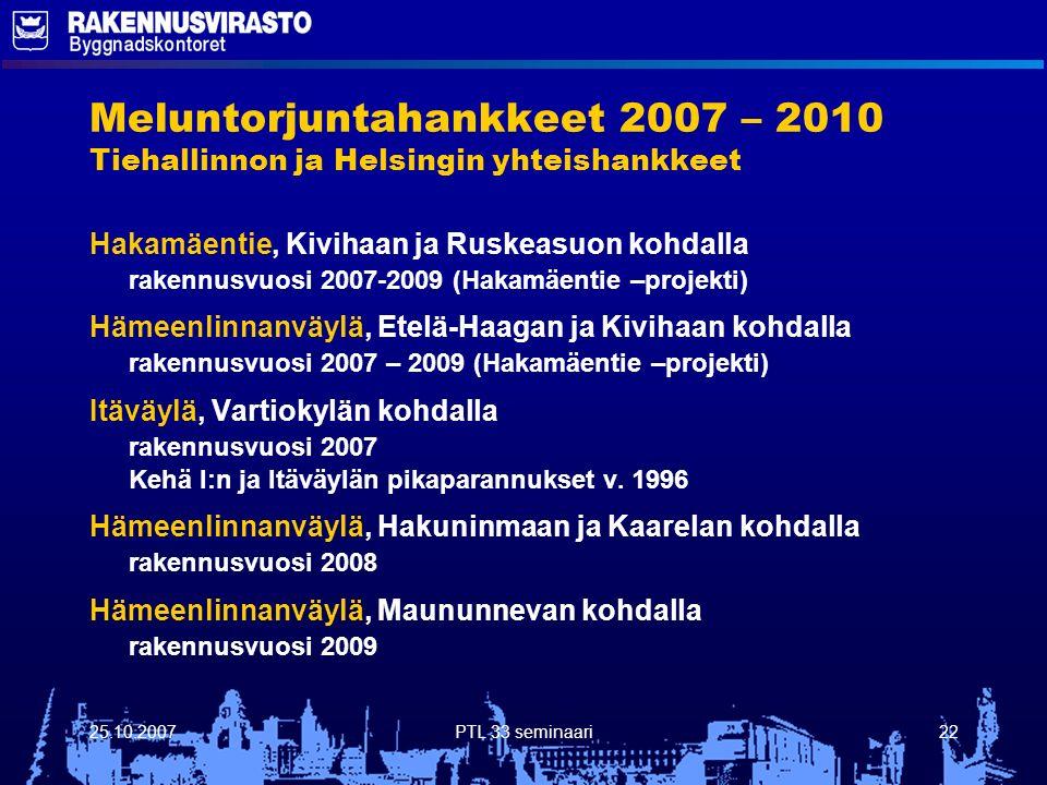 25.10.2007PTL 33 seminaari22 Meluntorjuntahankkeet 2007 – 2010 Tiehallinnon ja Helsingin yhteishankkeet Hakamäentie, Kivihaan ja Ruskeasuon kohdalla rakennusvuosi 2007-2009 (Hakamäentie –projekti) Hämeenlinnanväylä, Etelä-Haagan ja Kivihaan kohdalla rakennusvuosi 2007 – 2009 (Hakamäentie –projekti) Itäväylä, Vartiokylän kohdalla rakennusvuosi 2007 Kehä I:n ja Itäväylän pikaparannukset v.