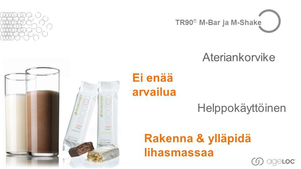 Helppokäyttöinen Ei enää arvailua Ateriankorvike Rakenna & ylläpidä lihasmassaa TR90 ® M-Bar ja M-Shake