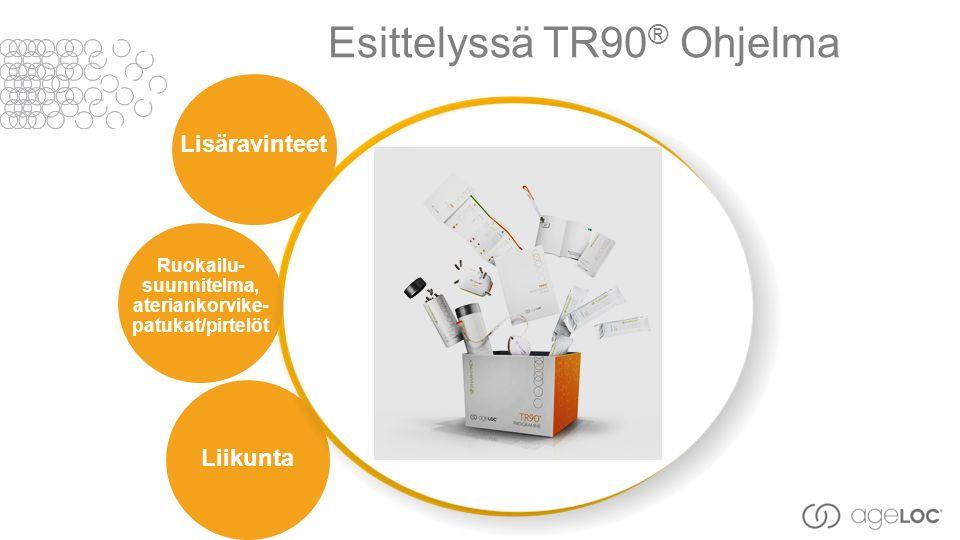 Esittelyssä TR90 ® Ohjelma Ruokailu- suunnitelma, ateriankorvike- patukat/pirtelöt Lisäravinteet Liikunta