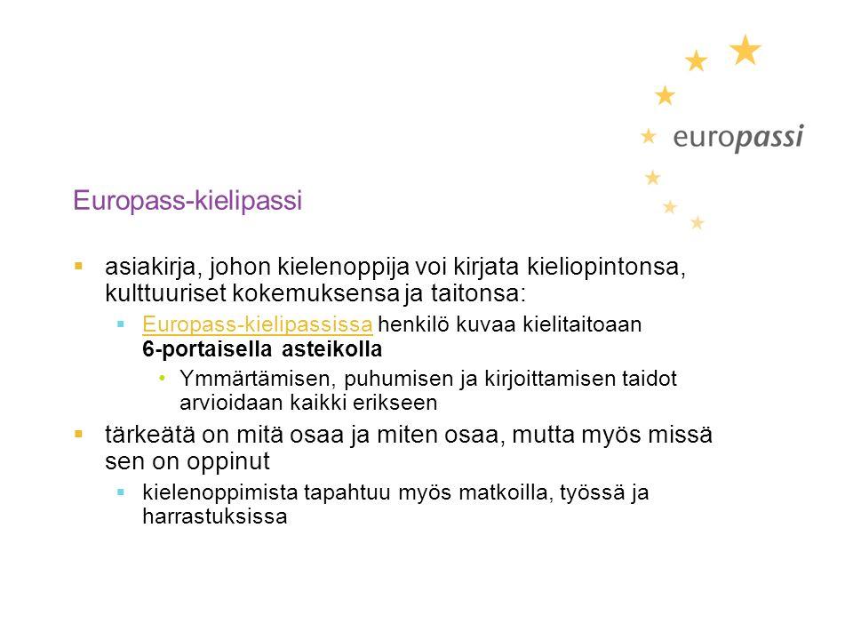 Europass-kielipassi  asiakirja, johon kielenoppija voi kirjata kieliopintonsa, kulttuuriset kokemuksensa ja taitonsa:  Europass-kielipassissa henkilö kuvaa kielitaitoaan 6-portaisella asteikolla Ymmärtämisen, puhumisen ja kirjoittamisen taidot arvioidaan kaikki erikseen  tärkeätä on mitä osaa ja miten osaa, mutta myös missä sen on oppinut  kielenoppimista tapahtuu myös matkoilla, työssä ja harrastuksissa
