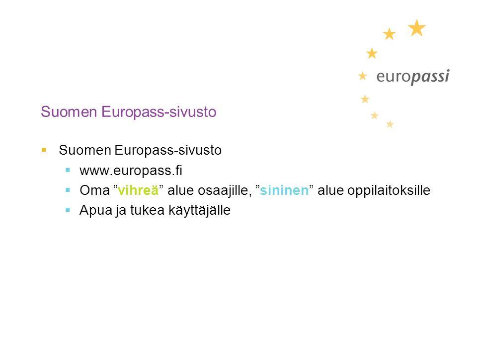 Suomen Europass-sivusto  Suomen Europass-sivusto  www.europass.fi  Oma vihreä alue osaajille, sininen alue oppilaitoksille  Apua ja tukea käyttäjälle