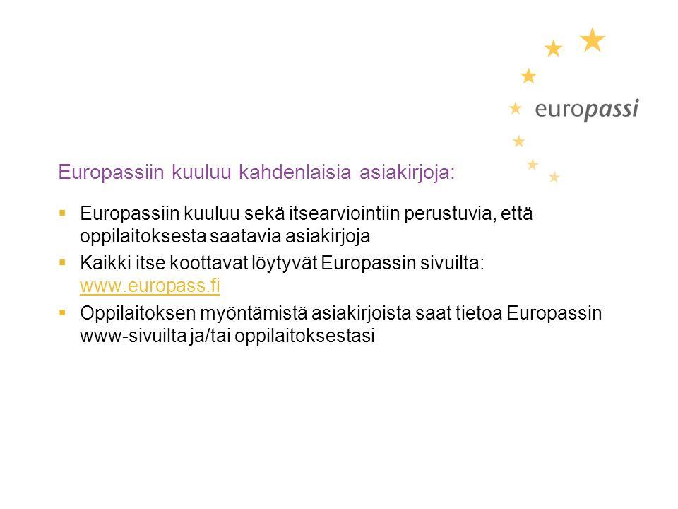 Europassiin kuuluu kahdenlaisia asiakirjoja:  Europassiin kuuluu sekä itsearviointiin perustuvia, että oppilaitoksesta saatavia asiakirjoja  Kaikki itse koottavat löytyvät Europassin sivuilta: www.europass.fi www.europass.fi  Oppilaitoksen myöntämistä asiakirjoista saat tietoa Europassin www-sivuilta ja/tai oppilaitoksestasi