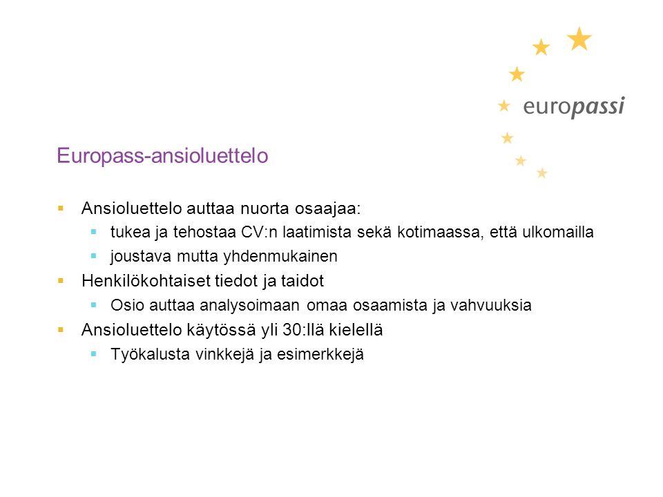 Europass-ansioluettelo  Ansioluettelo auttaa nuorta osaajaa:  tukea ja tehostaa CV:n laatimista sekä kotimaassa, että ulkomailla  joustava mutta yhdenmukainen  Henkilökohtaiset tiedot ja taidot  Osio auttaa analysoimaan omaa osaamista ja vahvuuksia  Ansioluettelo käytössä yli 30:llä kielellä  Työkalusta vinkkejä ja esimerkkejä
