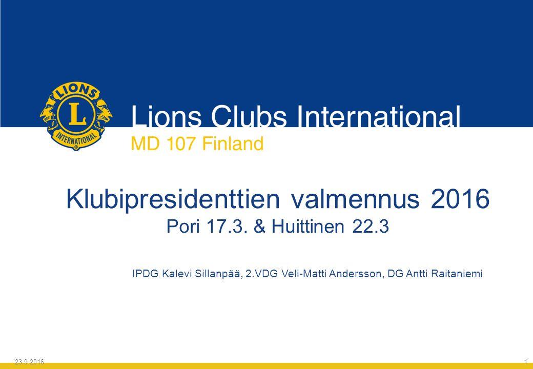 Klubipresidenttien valmennus 2016 Pori 17.3.