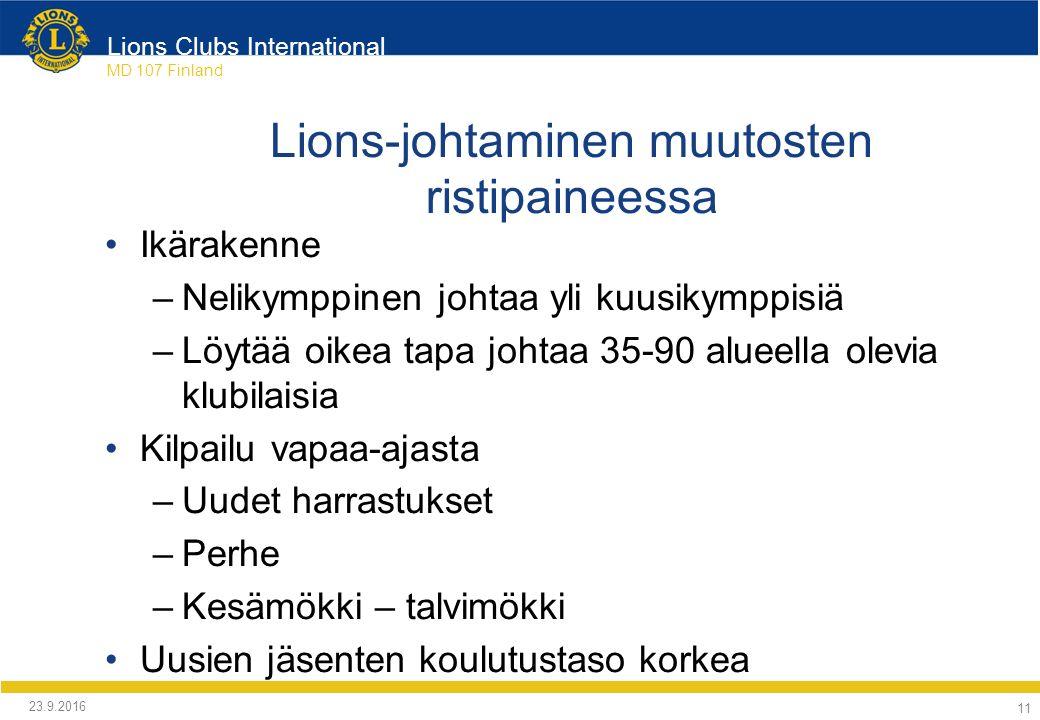 Lions Clubs International MD 107 Finland Lions-johtaminen muutosten ristipaineessa Ikärakenne –Nelikymppinen johtaa yli kuusikymppisiä –Löytää oikea tapa johtaa 35-90 alueella olevia klubilaisia Kilpailu vapaa-ajasta –Uudet harrastukset –Perhe –Kesämökki – talvimökki Uusien jäsenten koulutustaso korkea 24.9.2016 11