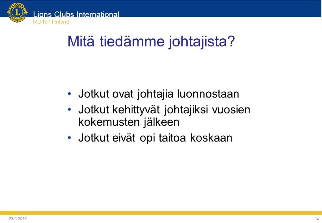 Lions Clubs International MD 107 Finland Mitä tiedämme johtajista.