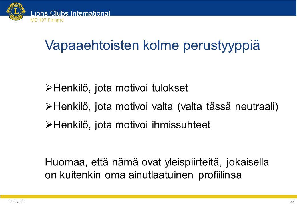 Lions Clubs International MD 107 Finland Vapaaehtoisten kolme perustyyppiä  Henkilö, jota motivoi tulokset  Henkilö, jota motivoi valta (valta tässä neutraali)  Henkilö, jota motivoi ihmissuhteet Huomaa, että nämä ovat yleispiirteitä, jokaisella on kuitenkin oma ainutlaatuinen profiilinsa 24.9.2016 22