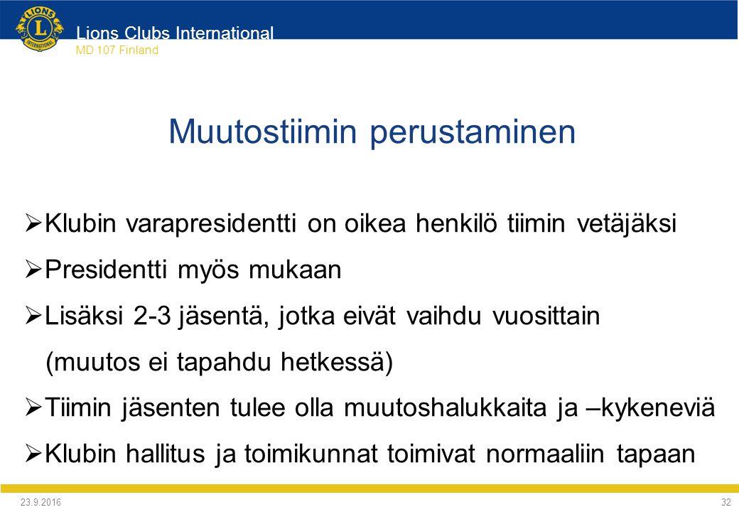 Lions Clubs International MD 107 Finland Muutostiimin perustaminen  Klubin varapresidentti on oikea henkilö tiimin vetäjäksi  Presidentti myös mukaan  Lisäksi 2-3 jäsentä, jotka eivät vaihdu vuosittain (muutos ei tapahdu hetkessä)  Tiimin jäsenten tulee olla muutoshalukkaita ja –kykeneviä  Klubin hallitus ja toimikunnat toimivat normaaliin tapaan 24.9.2016 32