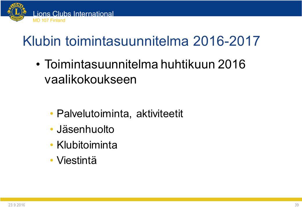 Klubin toimintasuunnitelma 2016-2017 Toimintasuunnitelma huhtikuun 2016 vaalikokoukseen Palvelutoiminta, aktiviteetit Jäsenhuolto Klubitoiminta Viestintä 24.9.2016 39