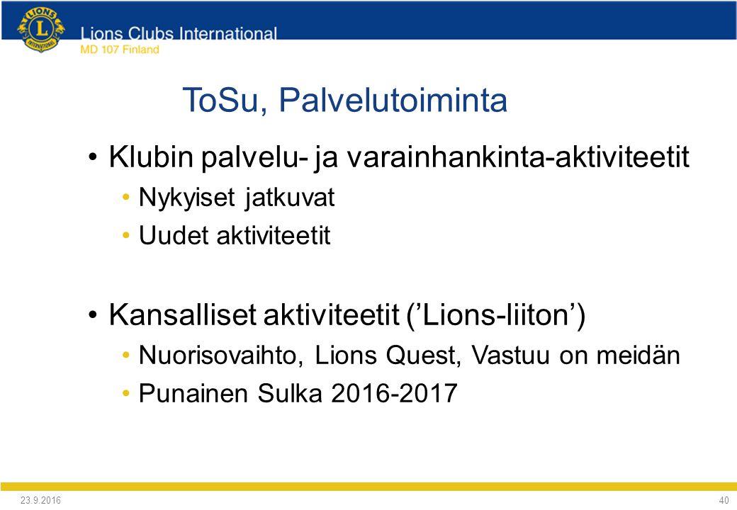 ToSu, Palvelutoiminta Klubin palvelu- ja varainhankinta-aktiviteetit Nykyiset jatkuvat Uudet aktiviteetit Kansalliset aktiviteetit ('Lions-liiton') Nuorisovaihto, Lions Quest, Vastuu on meidän Punainen Sulka 2016-2017 24.9.2016 40