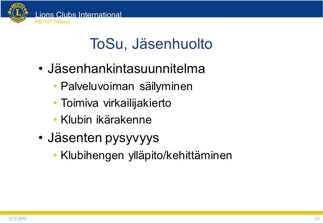 ToSu, Jäsenhuolto Jäsenhankintasuunnitelma Palveluvoiman säilyminen Toimiva virkailijakierto Klubin ikärakenne Jäsenten pysyvyys Klubihengen ylläpito/kehittäminen 24.9.2016 41