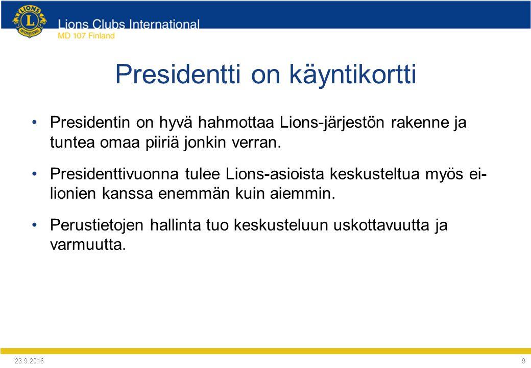 Presidentti on käyntikortti Presidentin on hyvä hahmottaa Lions-järjestön rakenne ja tuntea omaa piiriä jonkin verran.