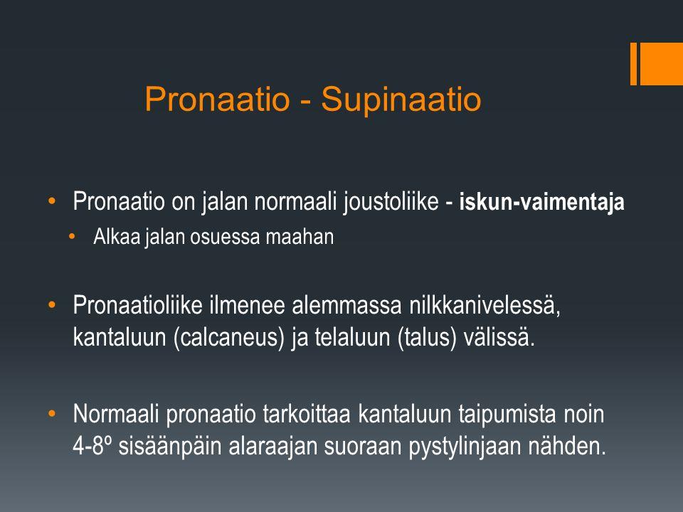 Pronaatio - Supinaatio Pronaatio on jalan normaali joustoliike - iskun-vaimentaja Alkaa jalan osuessa maahan Pronaatioliike ilmenee alemmassa nilkkanivelessä, kantaluun (calcaneus) ja telaluun (talus) välissä.